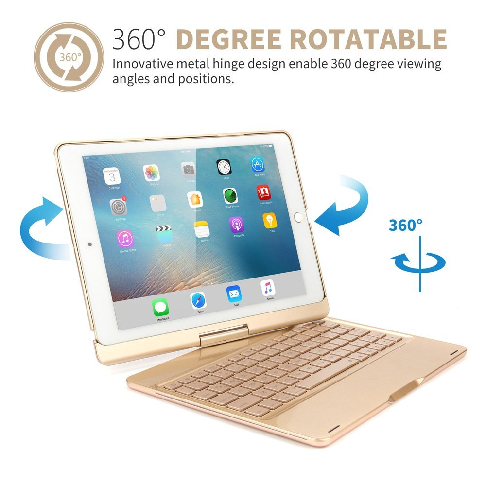 For 10.5 iPad Pro Keyboard Case, 360 Rotation 7 Color