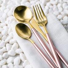 KTL 24Pcs Gold Cutlery Champagne Pink Tableware Set 18/10 Stainless Steel Dinner Fork Knife Scoop Set Silverware Set for wedding