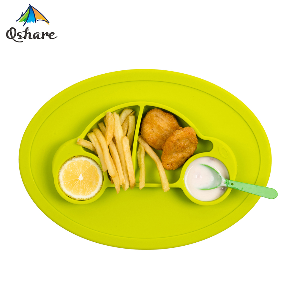 Qshare Infant Kids Plate Silicone Baby Feeding Plate Baby Dishes Suction Bowls Children Tableware Food Container Baby Placemat
