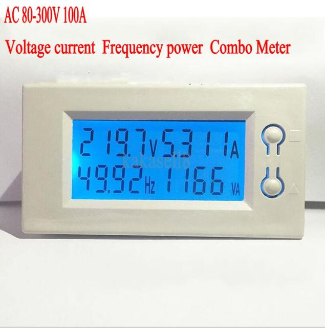 AC 100A 80-300V 110V 220V Digital LED Power Panel Meter Monitor Power Voltmeter Ammeter watt meter voltage frequency meter + CT