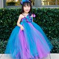Hot Sell Pageants Peacock Flower Girl Tutu Dress Kids Sleeveless Party Birthday Wedding Dress Mesh Tulle Princess Costume 2-14Y