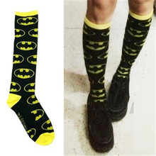 HOT Sale 1 pair Unisex Super Hero Marvel Hero Batman Cosplay Knee High Sock Soccer Socks