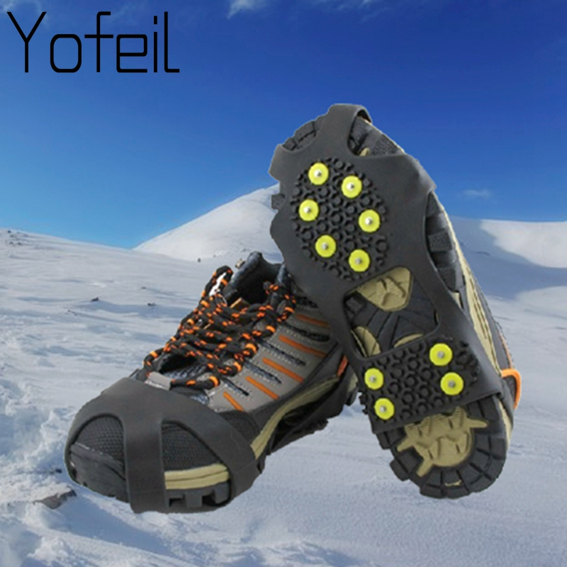10 Studs Anti-Skid Snow Ice Thermo Plastic Elastomer Climbing Shoes Cover Spikes Grips Cleats Over Shoes Covers Crampons
