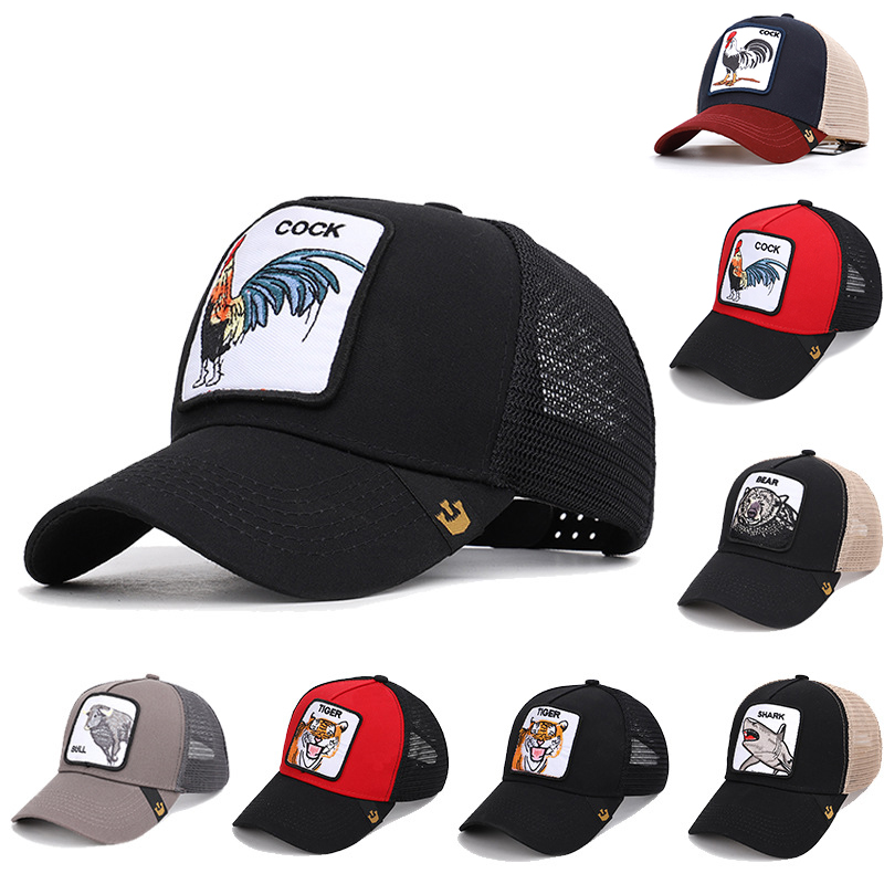 Wholesale Quality Summer   Baseball     Cap   Men Women Mesh Hat Breathable Animals Cock Tiger Bee Butch Gorilla Stallion