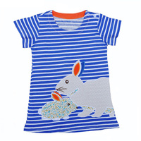 Girl Dress Summer Style Fashion Stripe Rabbit Print Kids Dresses For Baby Girl Clothes Cartoon Animal Bunny Toddler Girls Dress