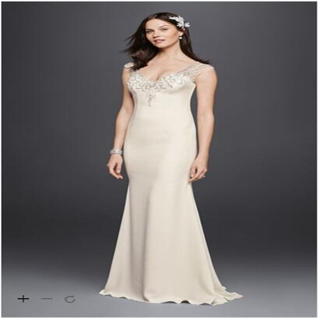 f30926599f543 Beaded Stretch Crepe Wedding Dresses SWG752 Bride Gown Sheath beading along  The V-neckline and illusion back Wedding Party Dress