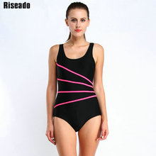 Riseado 2016 Brand Sports One Piece Swimsuit Swimwear Women Striped Backless Sexy monokini Swimming Bathing Suits