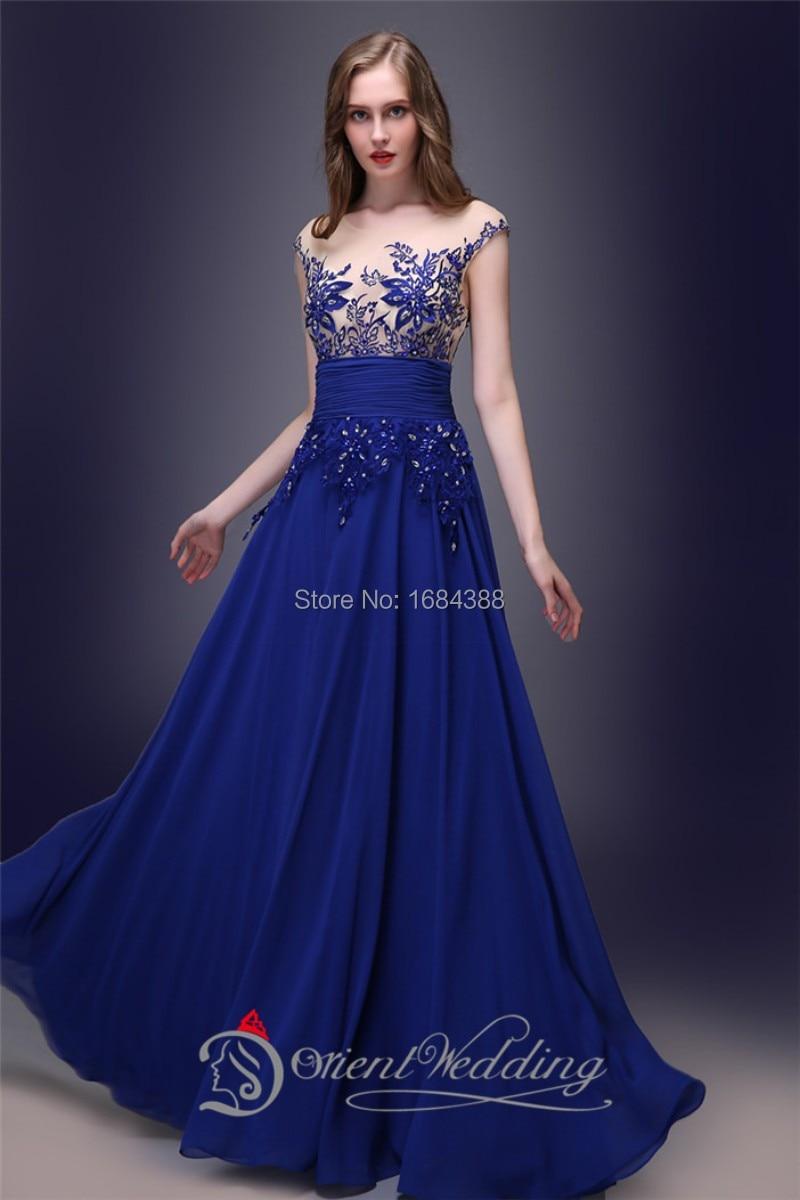 Robe mousseline bleu roi