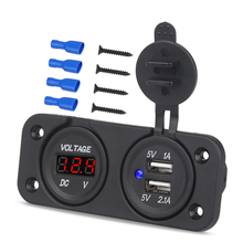 Auto Boat Motorcycle Dual USB Socket Charger Car Voltage USB Dual Socket Adapter With Voltmeter Panel 2 In 1 12V Waterproof newest arrival dual usb motorcycle charger 12v 4 2a moto 2 1a 2 1a 12v to 5v 15w usb charger with voltmeter led display sockets