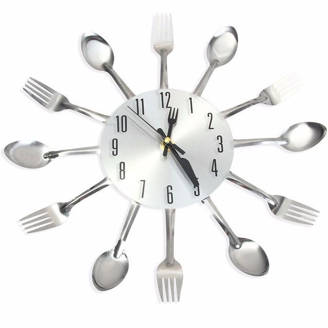 Modern Design Sliver Cutlery Kitchen Wall Clock Novelty Spoon Fork Clocks Home Decor Watch Creative