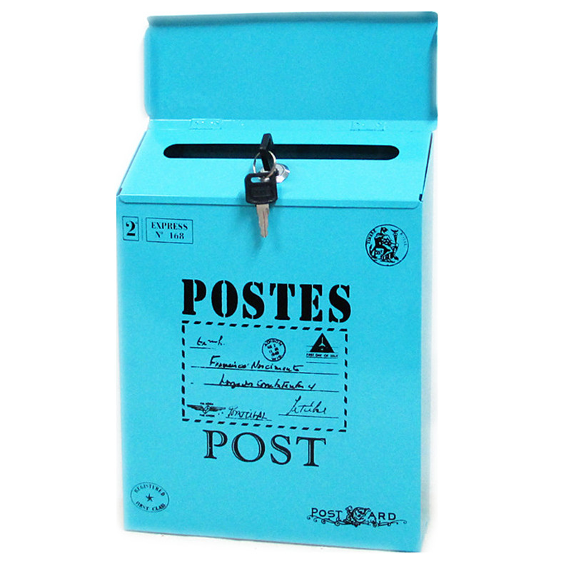 Vintage Retro Metal Lockable Iron Mail Box Case Tin Newspaper Letter Post Card Home Garden Ornament Decoration Photography Props