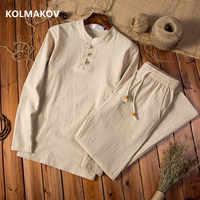 (Camicia + pantaloni) 2020 primavera uomo camicia Uomo In Cotone e lino shirt di Alta qualità degli uomini di moda casual shirt formato degli uomini M-5XL