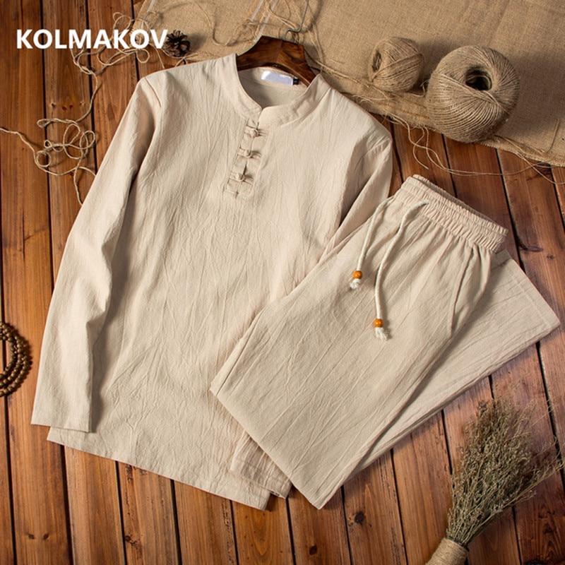 (Shirt + Trousers) 2020 Spring Men Shirt Man Cotton And Linen Shirts Men's High Quality Of Casual Fashion Shirts Men Size M-5XL