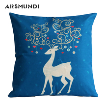 merry Christmas deer pillow case seat cushion cover printed linen pillow case home decorative waist throw cushion case for sofa