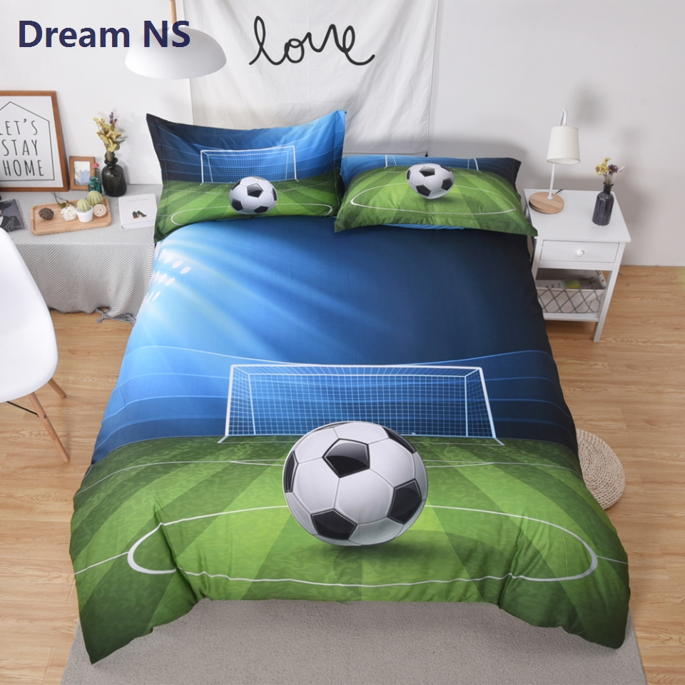 AHSNME Vivid 3d Football Duvet Cover Sets Soccer Bedding Set 3pcs United States Size King Queen Boy Birthday Gift Bedlinens