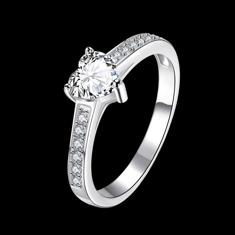 Jexxi Elegant Bridal Jewelry Solid 925 Sterling Silver With Shiny Heart Cut  Zirconia Amazing Design Wedding Engagement Rings