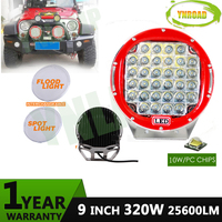 YNROAD 320w 9inch Red round led driving light ,led off road light led work light for SUV,ATV,UTV ,4D,4X4 use 25600LM