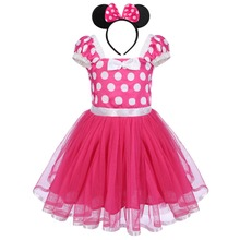 2pcs Set Cute Baby Girl Cake Smash Outfit Birthday Party Polka Dot Minnie Mouse Fancy Dress Mickey Headband Clothes