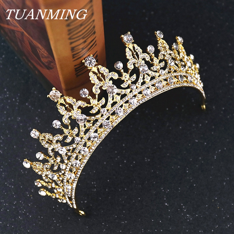 Noiva strass Coroa de Ouro Real Coroas Tiaras Acessórios Senhoras Headbands Tiaras De Casamento Para Noivas