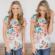be90410299f Women Ladies Casual Floral Printing T-shirt Short Sleeve Tops Women Sequined  Pocket Tee Tops Plus Size S-2XL