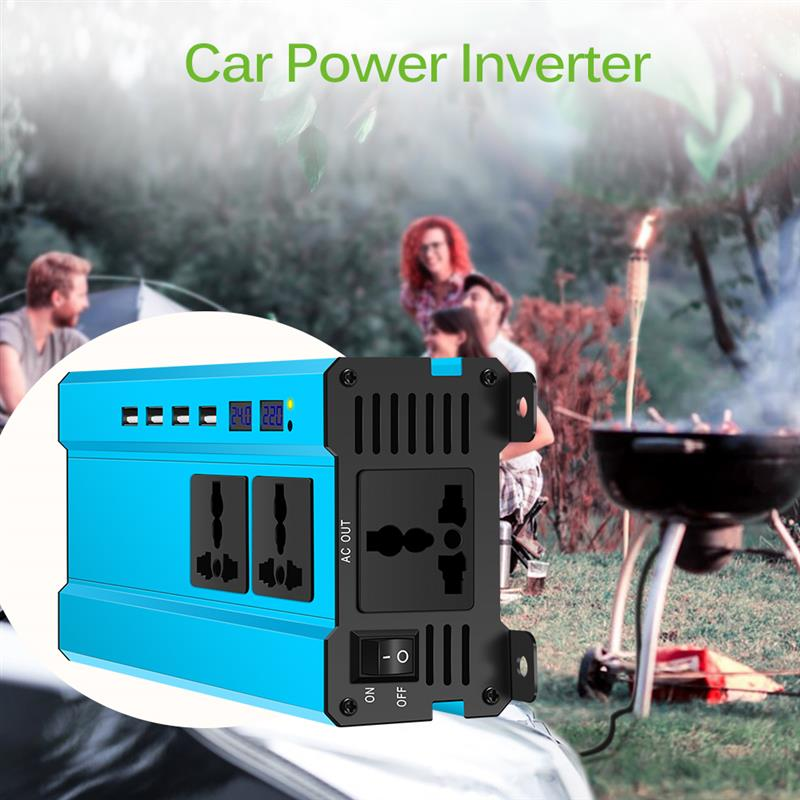 <font><b>2000W</b></font> DC <font><b>24V</b></font> To AC <font><b>220V</b></font> DC 12v To AC <font><b>220v</b></font> Sine Wave Car Power <font><b>Inverter</b></font> LED Converter With 4 USB Cooling Fan image