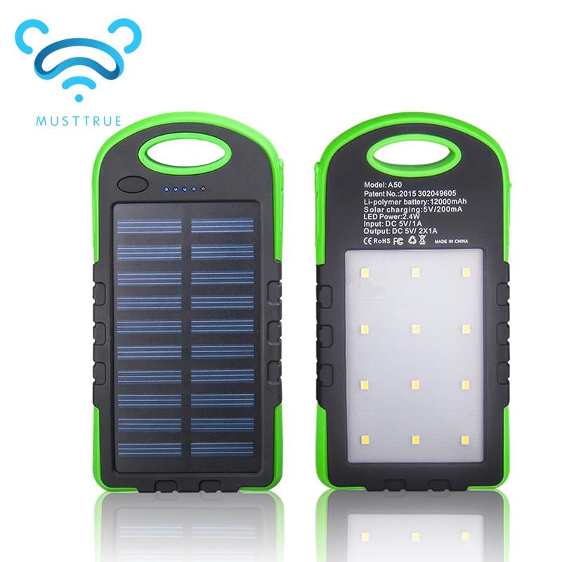 MUSTTRUE Solar Power Bank Dual USB Powerbank 10000mAh External font b Battery b font Portable Charger