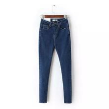 2017 Vintage Maman Fit Taille Haute Jeans Élastique Femme Femmes Lavé Bleu Denim Skinny Jeans Classique Crayon Pantalon C3553(China (Mainland))