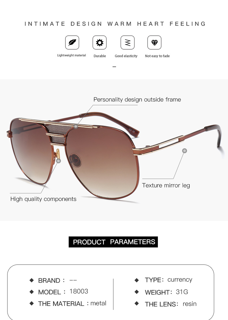 14f4f8c2c41 2018 Newest Arrival Fashion Metal Sunglasses Men Stylish Big Frame Grey  Glasses for Male Driving Fishing Oculos