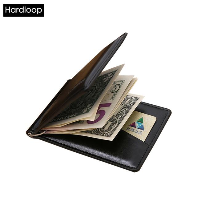 Hardloop Moneyclip Hombres Adelgazan Carteras Clip de Dinero de Cuero de Metal de Aceite de Calidad de LA PU Clips Tarjeta de Cuero Masculino Monedero Negro