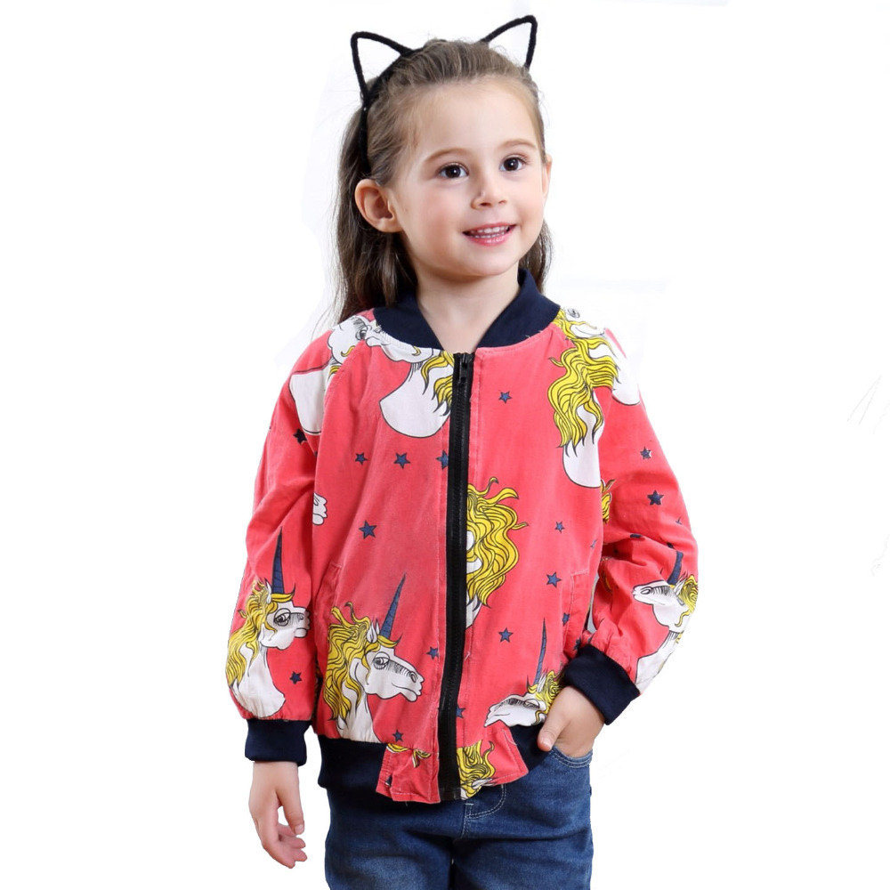 00a9dfa8f06aa Classic Children Unicorn Print Jacket Coats Baby Boy Girls  Lightweight  Biker Bomber Jacket Short Outdoor Coat Kid Clothes Red