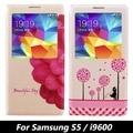 Para samsung galaxy s5 tampa flip case 3d alívio pintura telefone saco do telefone casos flores leather flip case para samsung i9600 kg85