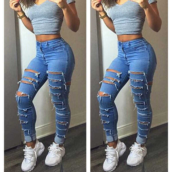 Women Lady Fashion Denim Skinny Ripped Pants High Waist Hole Stretch Jeans Slim Pencil Trousers Women 2016 2 in 1 wireless remote controller nunchuk control for nintendo wii motion plus game console with silicone case accessories