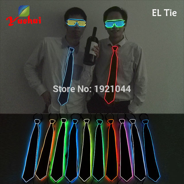 10 Color NEW Design Fashion Glowing Flashing LED Neck Tie, EL wire Tie for bar,club, Party Decoration By DC-3V Steady On Driver