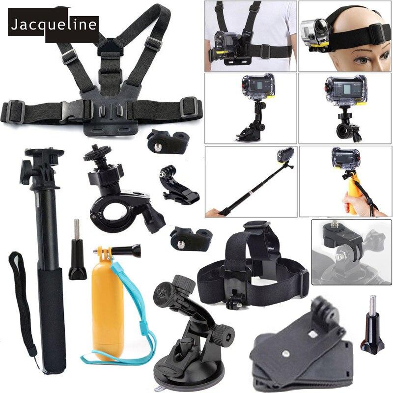Jacqueline para Kit Conjunto de Acessórios para Sony Ação Cam HDR AS20 AS200V AS30V AS15 AS100V AZ1 mini FDR-X1000V/W 4 k Ação cam