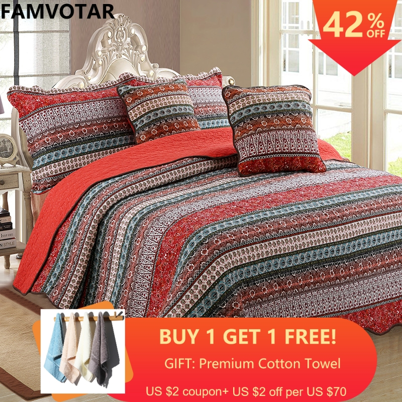 Famvotar Bohemian Striped Classical Cotton 3 Piece Patchwork Bedspread Quilt Set Boho Chic Mandala Pattern Quilted