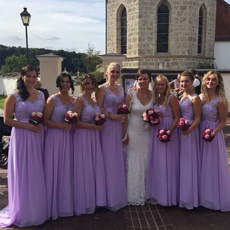 lamiabridal Chiffon Lavender   Bridesmaid     Dresses   V-Neck Floor Length Country Wedding Formal Party   Dresses   Maid Of Honor Gowns