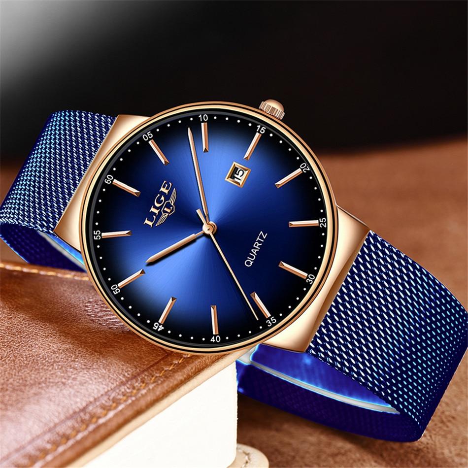 HTB1IAQLQNnaK1RjSZFBq6AW7VXac LIGE New Mens Watches Top Brand Luxury Fashion Mesh Belt Watch Men Waterproof Wrist Watch Analog Quartz Clock erkek kol saati