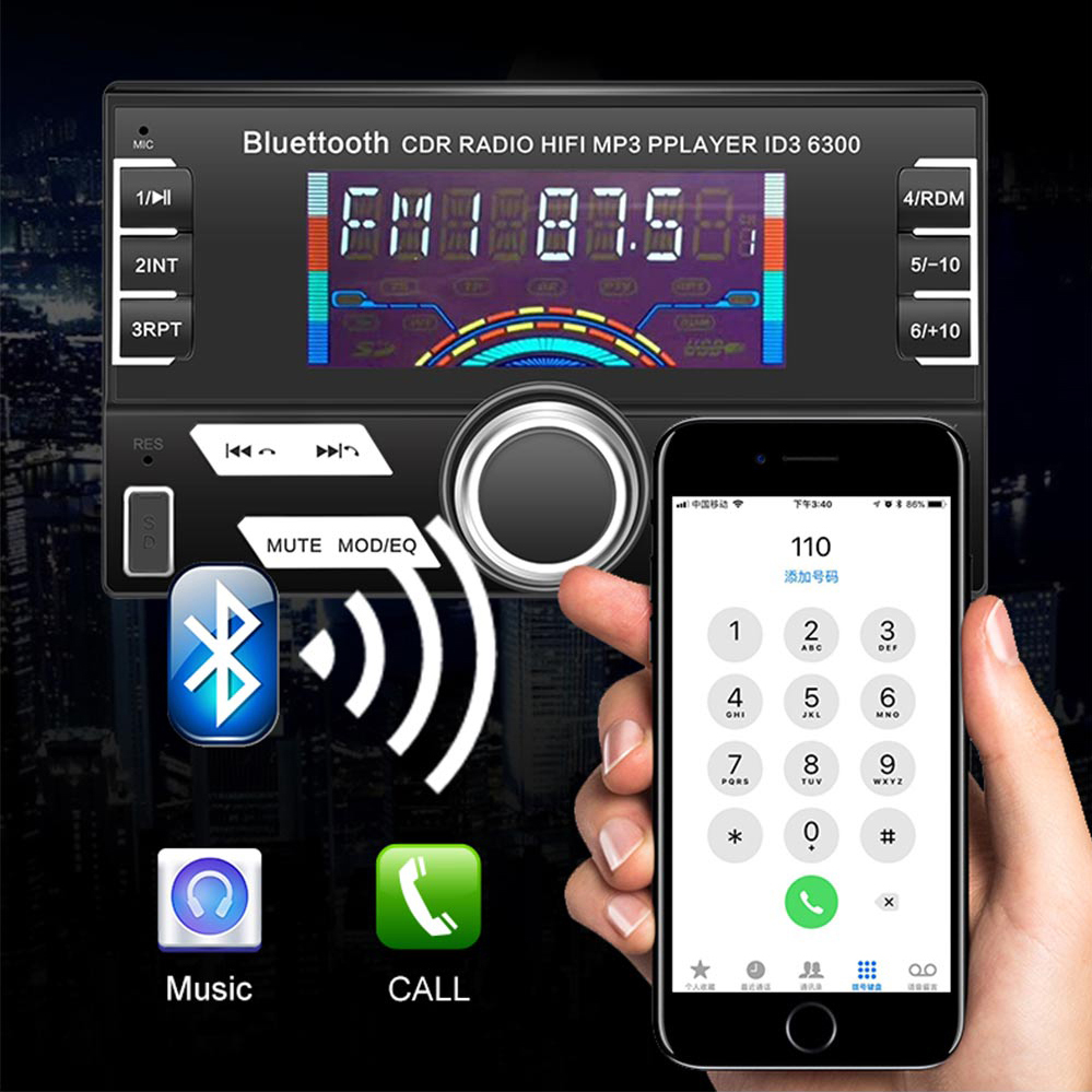LaBo 12V Bluetooth Car Stereo FM Radio MP3 Audio Player 5V Charger USB SD AUX Auto Electronics Subwoofer 2 DIN Autoradio
