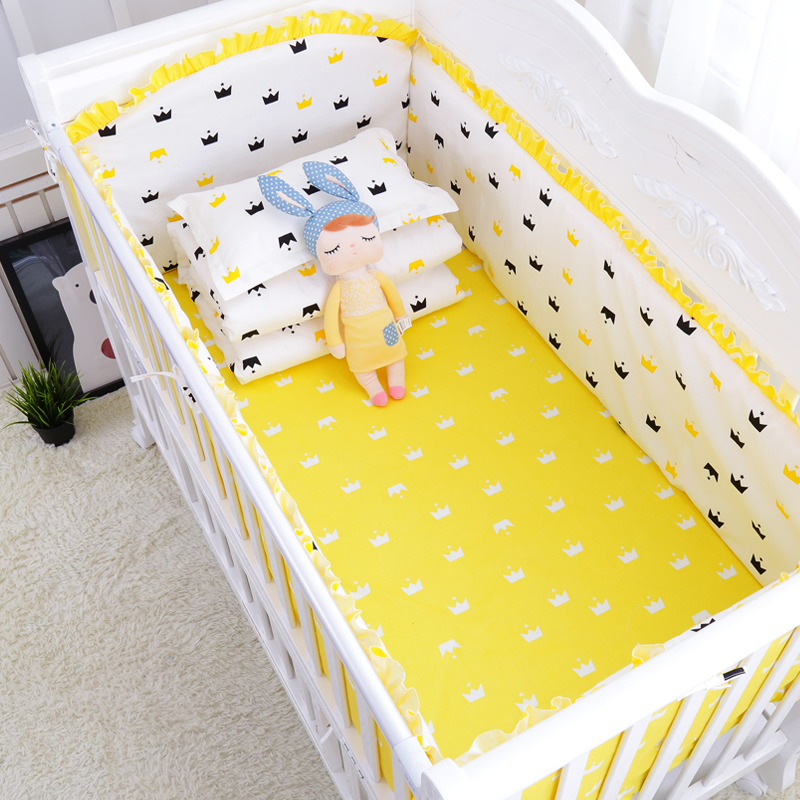 6pcs Set Muslin Crown Ins Hot Crib Bedding Cotton Toddler Baby Bed Linens