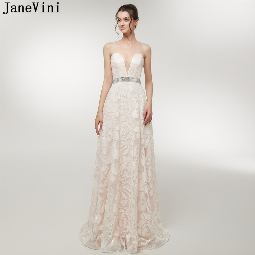 JaneVini 2018 Charming A Line Long   Bridesmaid     Dresses   with Sequins Beaded Strapless Floor Length Tulle Pageant Formal Prom Gowns