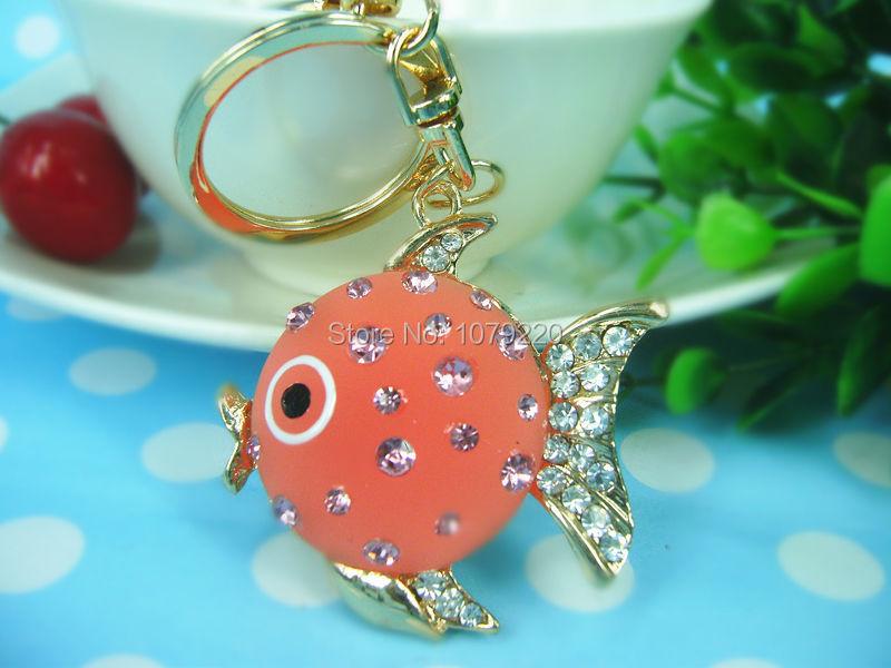 Cute Purse Crystal Jewelry Fish Pendant Keyring Rhinestone Key Chain