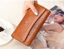Lluxury vintage Large Capacity Long WALLET Genuine Oil Wax Leather Women Wallet Sunflower Pattern Cowhide Leather Purse