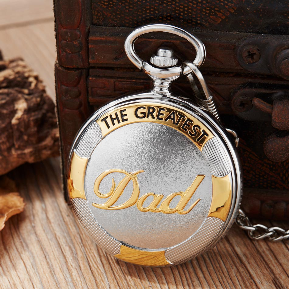 Vintage The Greatest Dad Steampunk Pocket Watch Quartz Necklace Pocket & Fob Watches For Father Chain Clock Relogio De Bolso