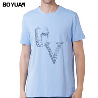 BOYUAN New Summer T Shirt Men Short Sleeve Cotton O Neck Casual Men T Shirt Fitness