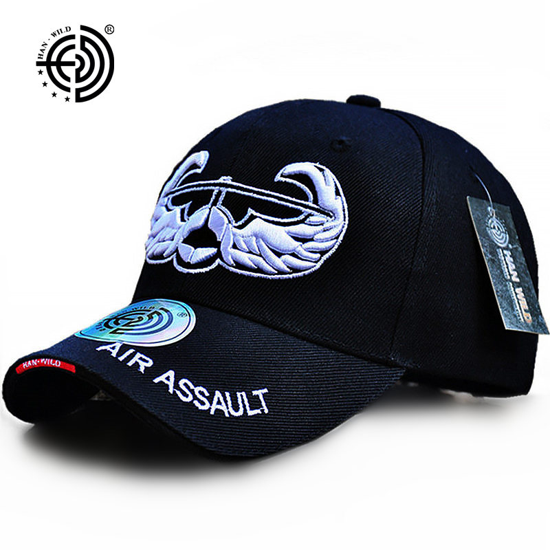 HAN WILD Brand Embroidery Baseball Caps Spring US Army Hat USA Air Assault Wing LOGO Adjustable For Adult Men Women Tactical Cap