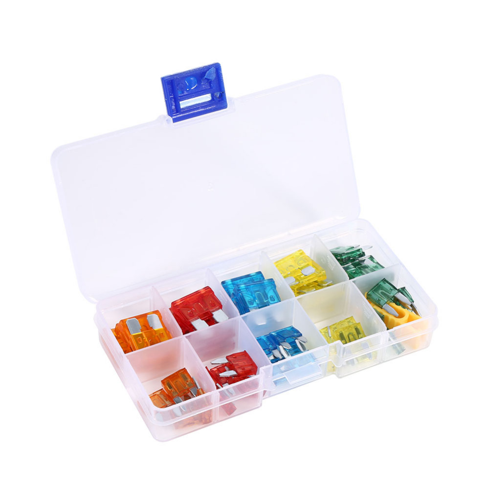 hight resolution of new mini 50pcs auto car blade fuse assortment motorcycle suv boat truck automotive blade fuse box kit apm atm 5a 10a 15a 20a 30a