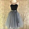 Negro Simple Novia de Gasa Gasa Vestido de 2016 Nuevas de La Manera Vestidos De Coctel Mini Short Prom Vestido Coaktail Vestido