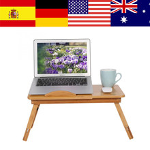 Portable Folding Bamboo Laptop Table Sofa Bed Office Laptop Stand Desk With Fan Bed Table For Computer Notebook Books(China)