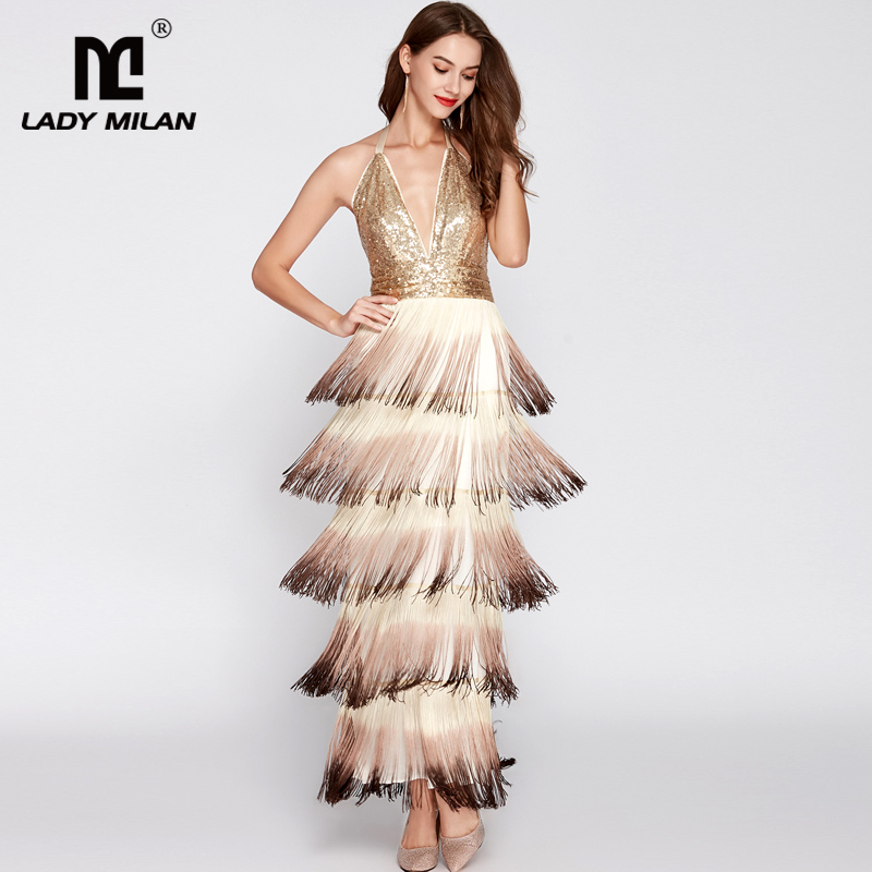New Collection Women s Sexy Halter V Neck Sleeveless Open Back Tiered Tassels Evening Prom Fashion
