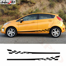 Racing Sport Lattice Graphics Car Side Skirt Decor Stickers Auto Body Door Vinyl Decal For Ford Fiesta Accessories Sticker цена и фото